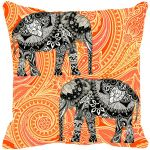 Fabulloso Leaf Designs Elephant Graphics Orange Cushion Cover - 18x18 Inches