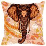 Fabulloso Leaf Designs Elephant Head Orange Cushion Cover - 16x16 Inches