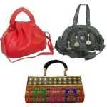 Estoss Set Of 3 Handbag Combo - 1 Red Handbag, 1 Black Sling Bag And 1 Multicolor Party Clutch Hcmb2010