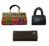 Estoss Set Of 3 Clutch Combo - 1 Multicolor Party Clutch Purse, 1 Black Purse Wallet & 1 Brown Clutch Purse- Hcmb1023