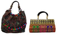 Estoss Buy 1 Get 1 - Brown Beaded Handle Handbag & Multicolor Party Clutch