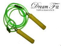 Dreamfit Adjustable Wooden Green Skipping Rope