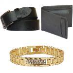 Sondagar Arts Latest Leather Belts Wallet Bracelet Combo Offers For Men