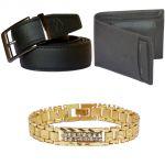 Sondagar Arts Latest Non Leather Belts Wallet Bracelet Combo Offers For Men