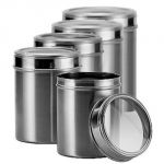 Dynamic Store Stainless Steel Kitchen Storage Canisters With See Through Lid - Set Of 5 - Ds_84