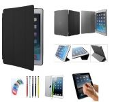 Pu Leather Full 360 Degree Rotating Flip Book Case Cover Stand For Ipad 4 Ipad 3 Ipad 2 (black) With Matte Screen Guard, Stylus And Wrist Band
