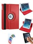 Pu Leather Full 360 Degree Rotating Flip Book Case Cover Stand For Ipad 4 Ipad 3 Ipad 2 (red) With Matte Screen Guard And Wrist Band