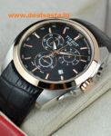 Imported Tissot Couturier Chronograph Black Dial Two Tone Leather Strap Watch For Men
