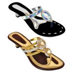 Altek Combo Of Two Stylish Multicolor Heel Sandal For Women (code - Foot_1534_2_1344_sil_1347_gol_p400)