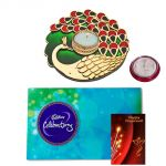 Bhai Dooj Diwali Gift Hamper Pack - Maalpani Designer Peacock Pooja Thali With Cadbury Celebration Chocolate Pack