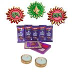 Diwali Gift Online 2017 - Rangoli Stickers Kankavati With Diya And Chocolate Hamper Pack Bhai Dooj Gifts