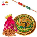 Rakhi Thali Dry Fruit Hamper - Mauli Om Rakhi And Gotapatti Batwa With Dry Fruits Gifts For Brother