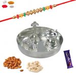 Send Rakhi Gift Hampers - Silver Puja Thali With Rakhi And Dry Fruit Gift Pack For Brother / Bhaiya