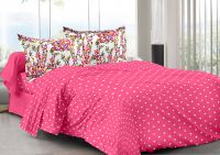 Welhouse Pink & Polka Design Skin Friendly Double Bedsheet With 2 Contrast Pillow Cover-best Tc-175