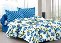 Welhouse Blue & Floral Design 100% Organic Double Bedsheet With 2 Contrast Pillow Cover-best Tc-175