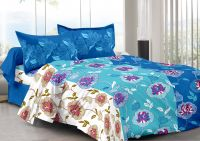 Welhouse Blue & Floral Design Skin Friendly Double Bedsheet With 2 Contrast Pillow Cover-best Tc-175