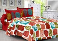 Welhouse Red & Natural Design 100% Cotton Double Bedsheet With 2 Contrast Pillow Cover-best Tc-175