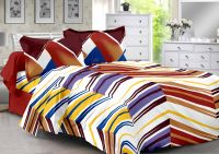Welhouse Brown & Stripes Design Eco-friendly Cotton Double Bedsheet With 2 Contrast Pillow Cover-best Tc-175
