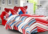 Welhouse Red & Stripes Design 100% Organic Double Bedsheet With 2 Contrast Pillow Cover-best Tc-175