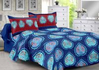 Welhouse Blue & Floral Design Super Soft Cotton Double Bedsheet With 2 Contrast Pillow Cover-best Tc-175
