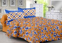 Welhouse Brown & Floral Design Color Fastness Cotton Double Bedsheet With 2 Pillow Cover-best Tc-175