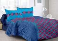 Welhouse Blue & Abstract Design Color Fastness Cotton Double Bedsheet With 2 Contrast Pillow Cover-best Tc-175
