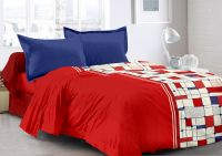 Welhouse Red & Checkered Design Super Soft Feeling Double Bedsheet With 2 Contrast Pillow Cover-best Tc-175