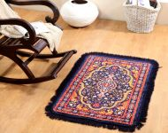 Welhouse India Traditional Design Blue Colour Prayer Mat