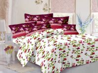 Welhouse Cotton Floral White Double Bedsheet With 2 Contrast Pillow Covers(tc-129)