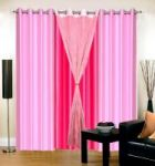 Set Of 4 Sai Arpan Stylish Stiched Eyelet Pink Door Curtain