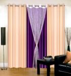Set Of 4 Sai Arpan Stylish Stiched Eyelet Cream & Violet Door Curtain
