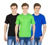 Firemark Pack Of 3 Black, Green & Royal Blue Cotton T Shirts For Men