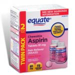 "Equate - Aspirin 81 Mg, Low Dose, Cherry Flavor, 72 Chewable Tablets (compare To Bayer Children""s)"