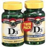 Spring Valley Twin Pack Vitamin D3 2000i.u. Immune Health/bone Health, 200 Softgels (2 Pack)