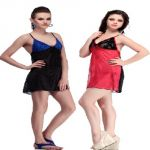 Belle Nuits Pack Of 2 Short Nighties (product Code - Bn120003rn-bnrb0011b)