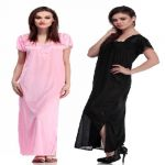 Belle Nuits Pack Of 2 Long Nighties (product Code - Bn2340021b-bnsp1460035bp)