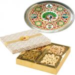 Subh Labh Stainless Steel Thali With Dry Fruits For Sister