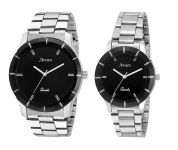 Arum Trendy Black In Silver Watch For Couples