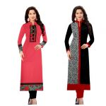 Morpich Fashion Buy 1 Pink Cotton Kurti Get 1 Black Cotton Kurti Free (mfk100217)