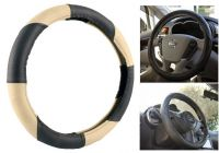 MP Car Steering Wheel Cover Grip Leatherite Black/beige For Tata Aria