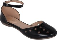 Flora Black Synthetic Leather Flat Sandal For Women - (product Code - Pf-3005-01)