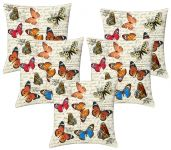 Lushomes Digital Print Coloful Butterflies Cushion Covers (pack Of 5)