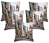 Lushomes Digital Print Times Square Cushion Covers (pack Of 5)