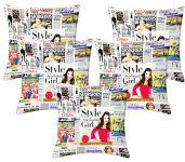 Lushomes Digital Print News Feed Cushion Covers (pack Of 5)