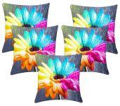 Lushomes Digital Print Creative Flower Cushion Covers (pack Of 5)