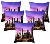 Lushomes Digital Print City Life Cushion Covers (pack Of 5)