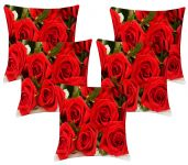 Lushomes Digital Print Red Roses Cushion Covers (pack Of 5)
