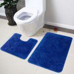 Lushomes Soft Ultramarine Regular Bath Mat Set 1pc Bathmat + 1pc Contour