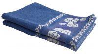 Lushomes Cotton Cobalt Blue Hand Towel With Jacquard Border (pack Of 2 Pcs)-cojht1003