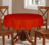 Lushomes Plain Red Wood Round Table Cloth - 4 Seater